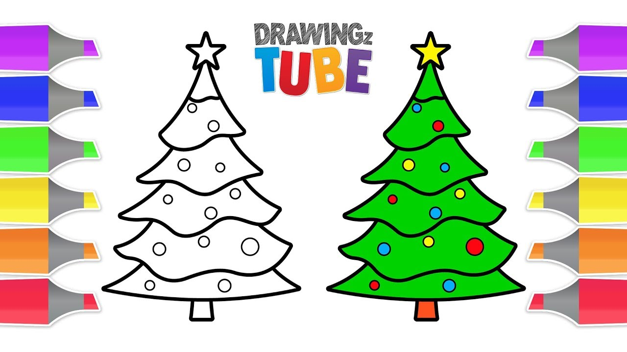 Christmas Tree Coloring And Drawing For Kids Drawing For Kids Christ Drawing For Kids Christmas Drawing Colorful Christmas Tree