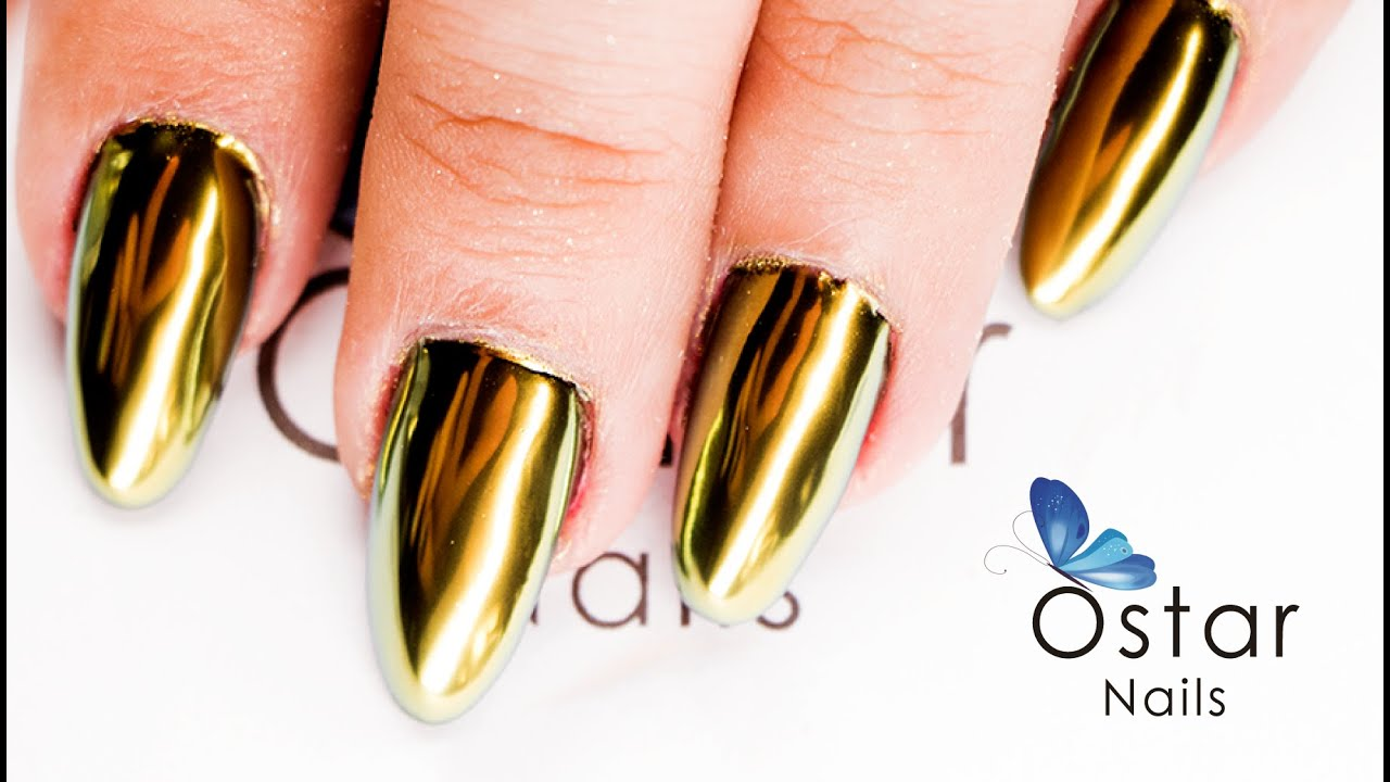 Mirror Chrome Diamond Gold Powder Demo Ostar Nails