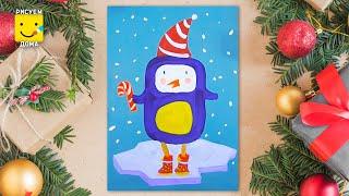 Как нарисовать пингвина на льдинке - урок рисования для детей от 4 лет, рисуем дома поэтапно