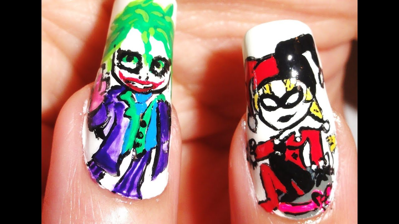 How to draw Joker and Harley Quinn Nails - YouTube