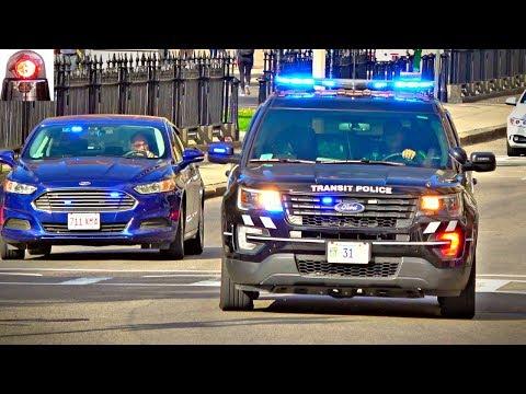 Transit Police Ford Interceptor Responding Lights and Siren - MBTA