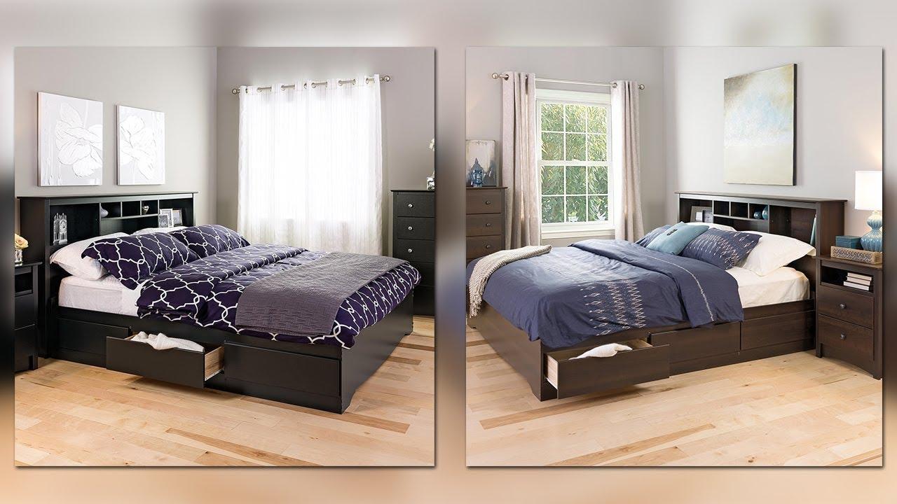 King Size Bedframe Platform Headboard Bedroom Furniture Storage Bed Wood  Black