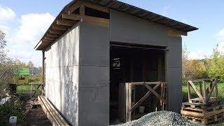 Как я строил гараж часть 2(4х6,5 с беседкой 4х2 по каркасной технологии. Установлены подъемно-поворотные ворота 2,5х2,5м., 2013-11-10T18:02:15.000Z)