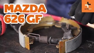 front and rear Disk pads change on MAZDA 626 V (GF) - video instructions