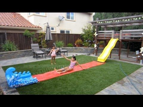 Backyard/Playground Slide Onto Slip n' Slide - YouTube