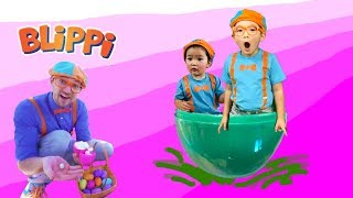 Blippi Egg Hunt Inspired | Learn Colors and Farm Animals for Children