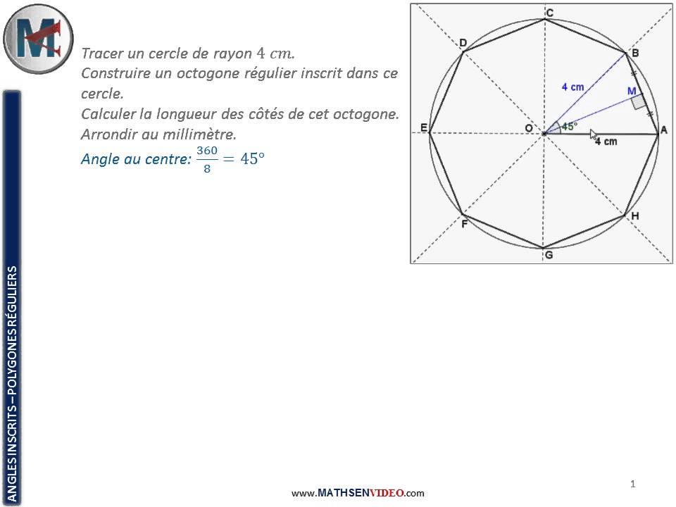 Exercice construction et calcul dans un octogone r gulier for Calcul puissance poele a bois volume