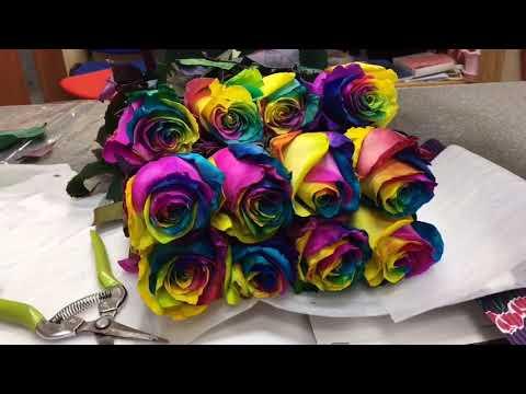 Радужная роза от компании #15Роз