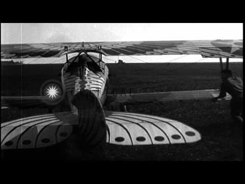 A formation flight of airplanes at US Army Air Corps Third Aviation Instruction C...HD Stock Footage