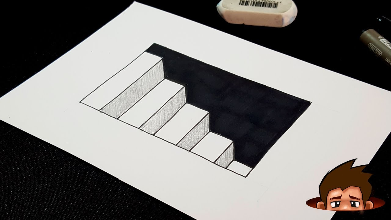 How to Draw 3D Stairs with Hole - Easy optical illusion ...