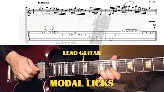 Modal Licks GUITAR LESSON with TAB - 3 LICKS (Dorian, Ionian, Lydian)