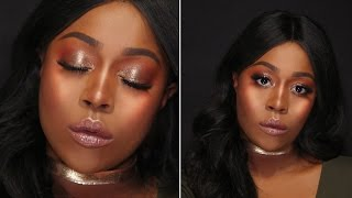 PROM MAKEUP TUTORIAL DARK SKIN 2017 + COLOURPOP REVIEW & SWATCHES (ENG SUB)