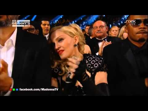 MADONNA cheers on KATY PERRY, RIHANNA, USHER @ 2015 GRAMMYS