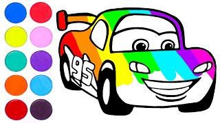 Dibuja y colorea a Rayo McQueen 🏎🎨Vídeos para niños.