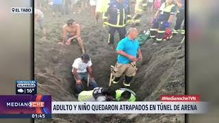 El Tabo: Un adulto y un niño quedan sepultados en un túnel de arena