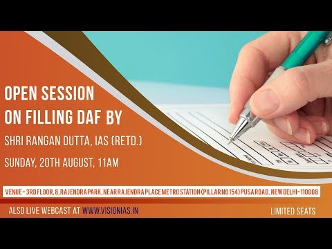 Open Session on Filling Daf by Rangan Dutta Sir IAS(Retd.)