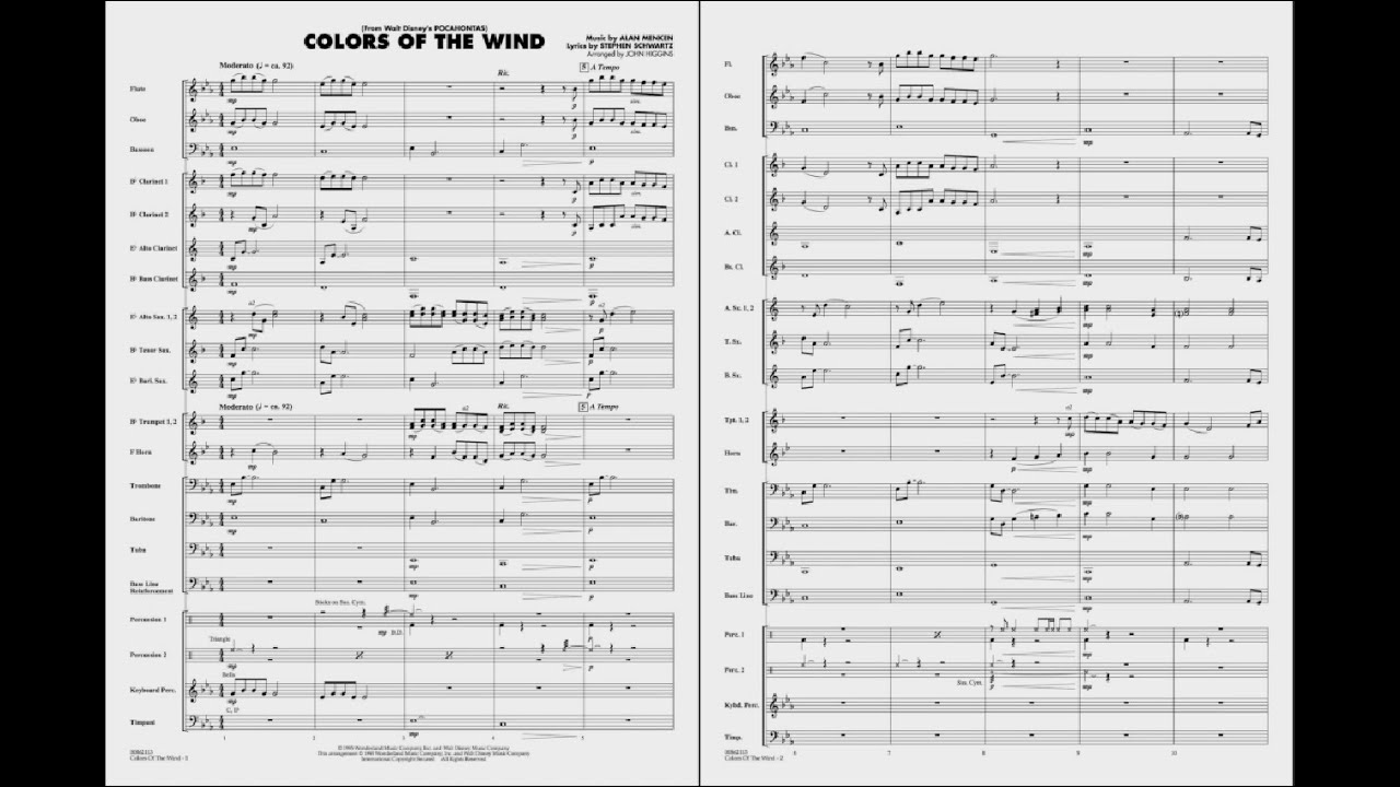 Colors of the Wind arranged by John Higgins - YouTube