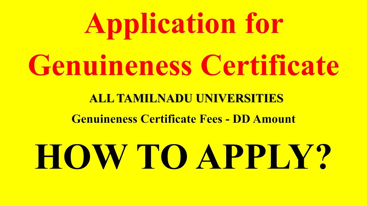 Application for genuineness certificate all tamilnadu universities application for genuineness certificate all tamilnadu universities how to apply yadclub Gallery