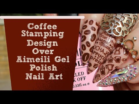 NAIL ART TUTORIAL-Coffee Inspired Design Using MouYou Plate Over Aimeili Gel Polish thumbnail