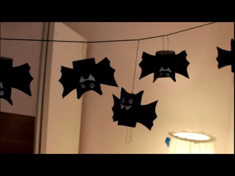 diy halloween special fledermaus girlande bat garland. Black Bedroom Furniture Sets. Home Design Ideas