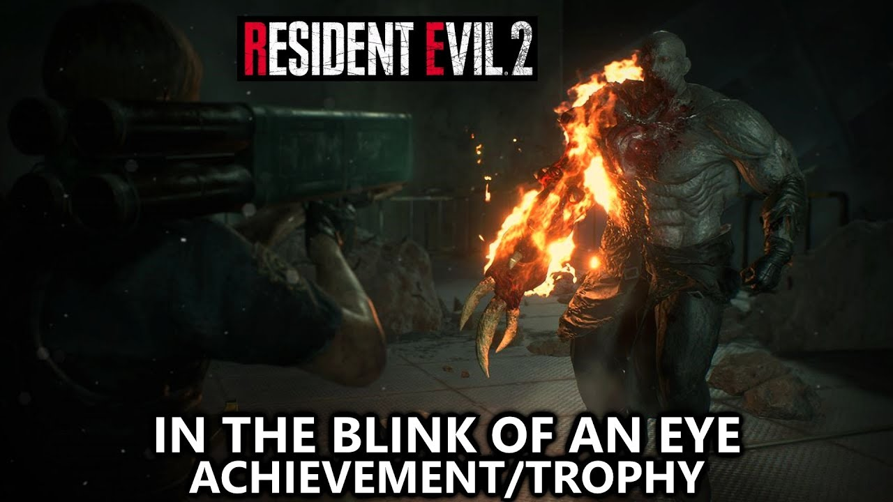 Resident Evil 2 In The Blink Of An Eye Achievement Trophy Defeat Super Tyrant W 5 Minutes Left