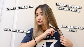 CUTTING AND COLORING MY OWN HAIR AT HOME *FAIL*
