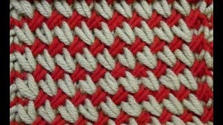 Узор спицами. Цветная плетенка.