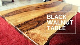 Large Living Room Table - Live Edge Black Walnut - DIY