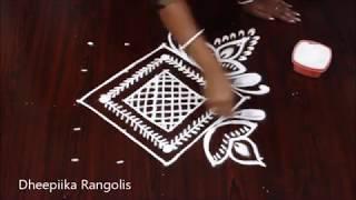 simple and easy deepam rangoli design with 5x5 dots * small friday kolam design * Apartment rangolis