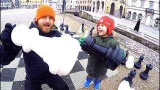 Car stuck in snow | TimKo Kid Go Shopping at Toys Store & Play Giant Chess | Family Trip to Italy