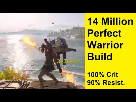 Assassins Creed Odyssey - 14 Million Perfect Warrior Build - 100% Crit - 90% Melee Resistance