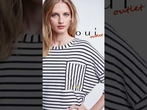 德國Oui 黑白橫條寬版口袋七分袖T恤