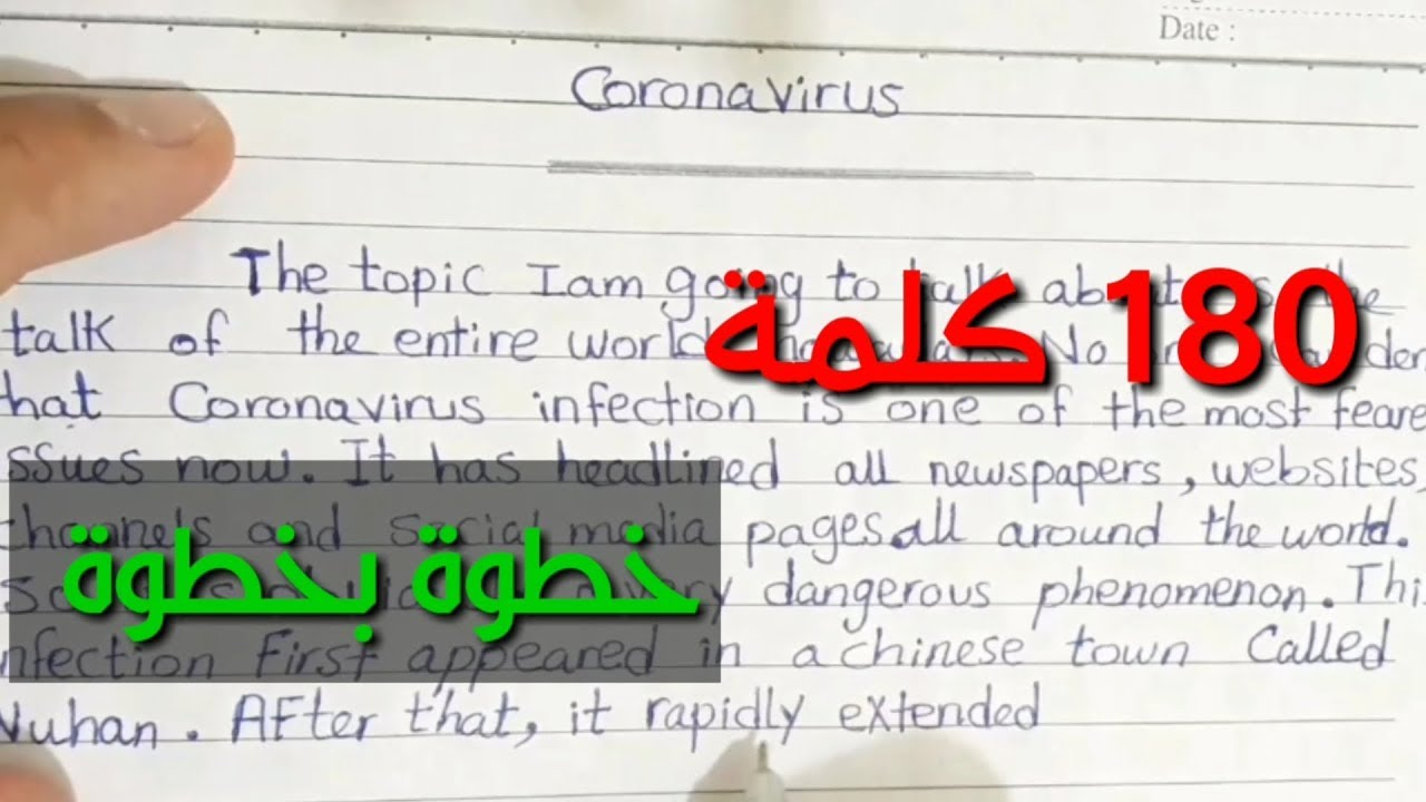 كتابة موضوع براجراف عن فيروس كورونا خطوة بخطوة بطريقة مبسطة جدا