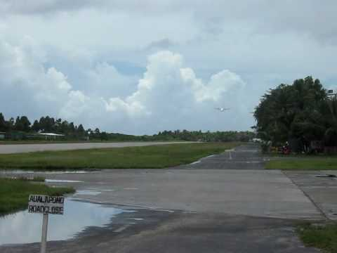Air Pacific landing at Funafuti Airport in Tuvalu
