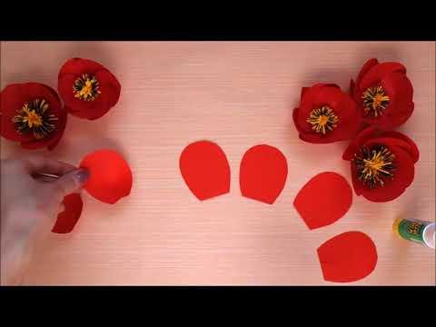Paper flowers DIY tutorial  Poppy flower made of paper