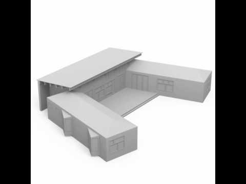 Great 3D Model Of A Modern U Shaped House