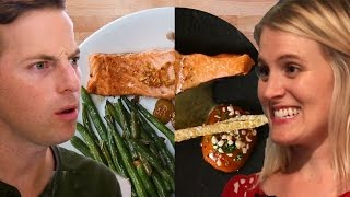 couple tries home cooking vs 120 salmon