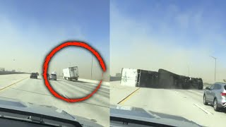 Strong Winds Insanely Knock Over Big Rig Truck