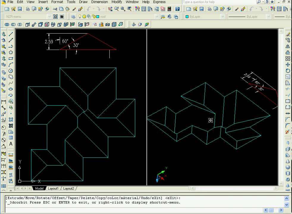 How To Make Complicated Sloped Roof In Autocad 3d Easily