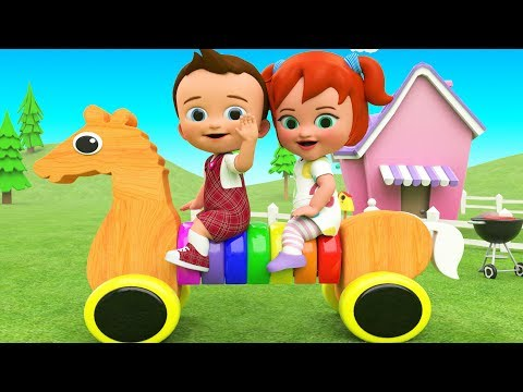 Little Baby Boy & Girl Fun Play Color Rings Horse Wooden Toy Set 3D Kids Colors Toys Educational