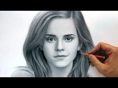 Фотореалистичный портрет Эммы Уотсон простым карандашом.
