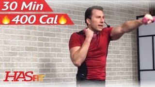 30 Minute Cardio Kickboxing Workout + Abs and Arms Workout - Aerobic Kick Boxing Training Routine