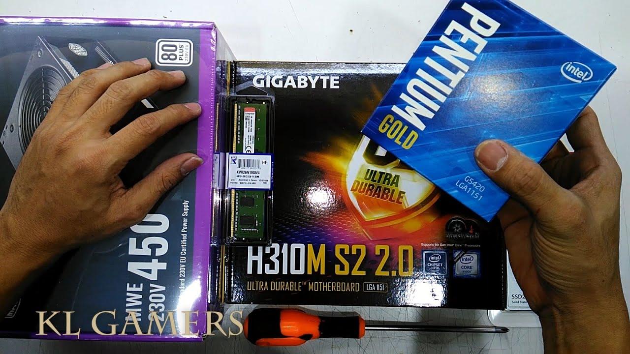 intel PENTIUM GOLD G5420 GIGABYTE H310M S2 2.0 Transcend SSD MWE 450 Cooler Master Elite 361 Build - YouTube