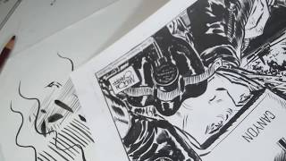 Inking with a brush: strokes and tips
