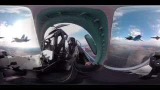 Видео 360  Репетиция воздушной части парада Победы из кабины Су 27 «Русских витязей»
