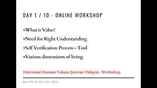 Day1 - Universal Human Values / Jeevan Vidya Online Workshop - Suman Yelati