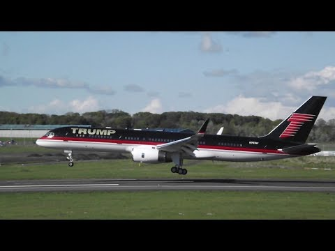 Extremely Rare!!!* Donald Trump's 757 Landing at Prestwick Airport ...