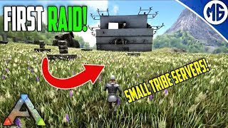 FIRST RAID ON SMALL TRIBE SERVERS! Small Tribe Servers Official PvP Ep 9 - Ark: Survival Evolved