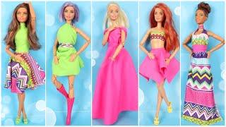 5 FARKLI DİKİŞSİZ BARBIE KIYAFET YAPIMI NO:2 ~ Kendin Yap Tarzı 5 Dakikada Hallet Barbie Kıyafetleri