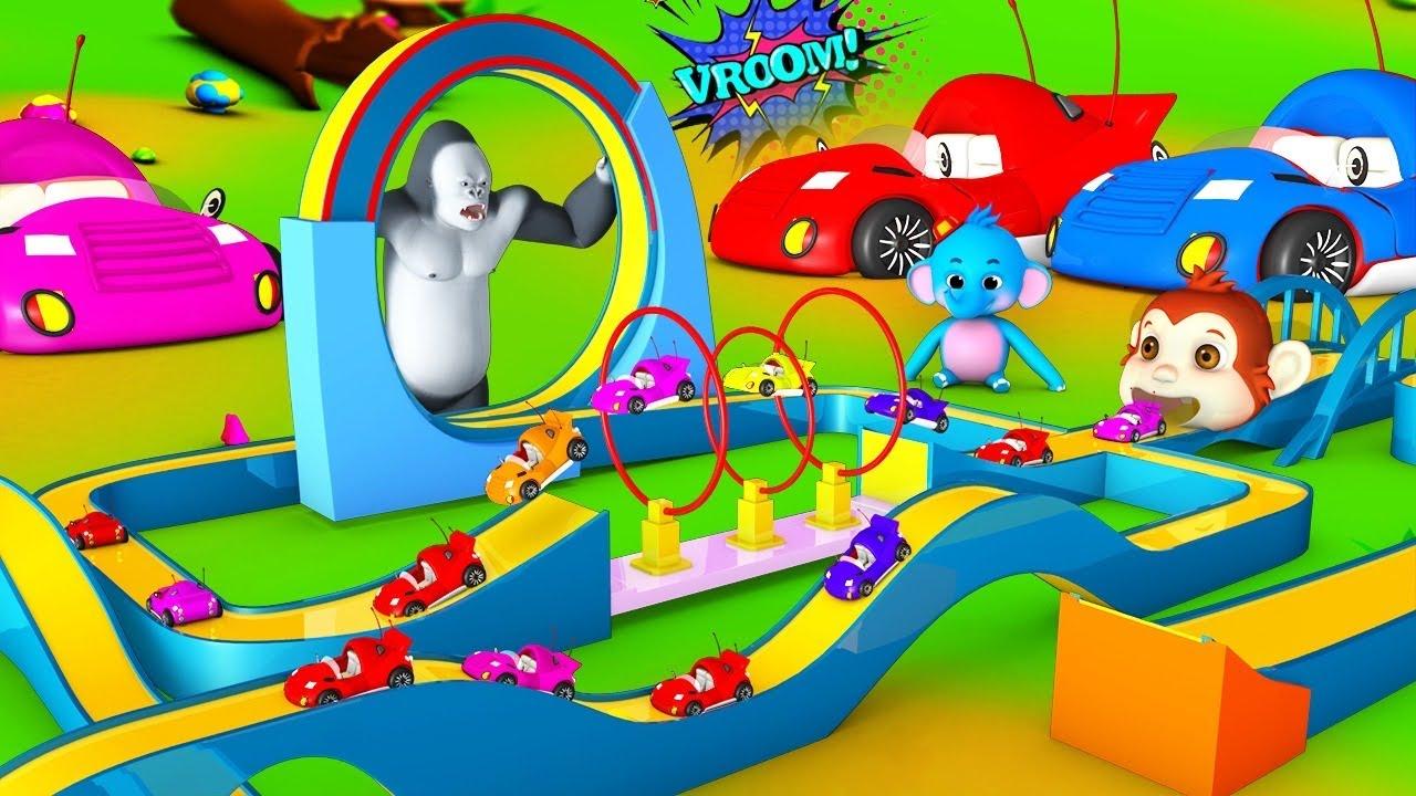 Giant Gorilla Race Track Fun Game Slider - Hot Wheels   Funny Monkey & Barn Animals 3D Comedy Videos